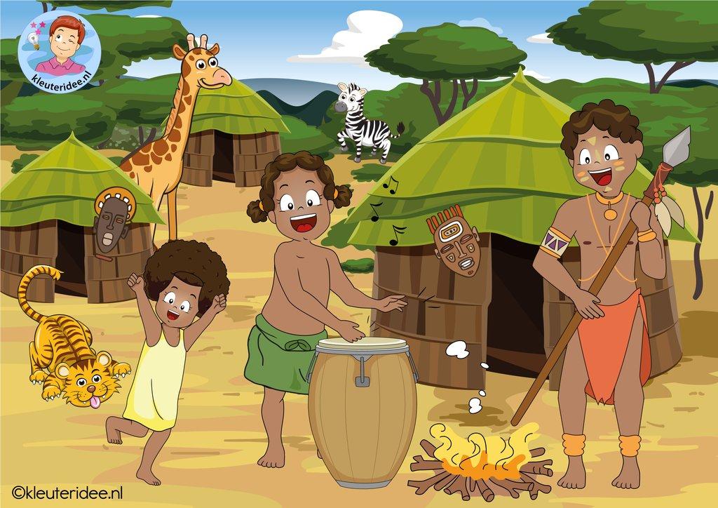 Kleurplaten Maskers Afrika.Kleuteridee Afrika
