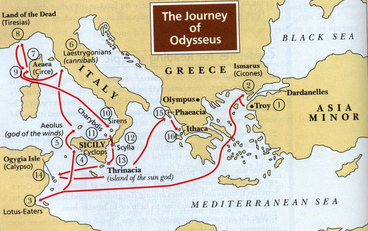 Map Of The Odyssey The Odyssey Map