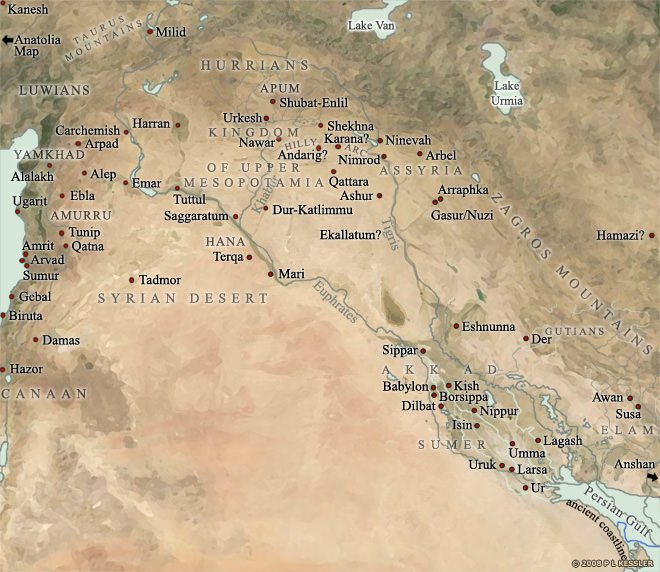 Mesopotamia is located in between the Tigris River (to th...