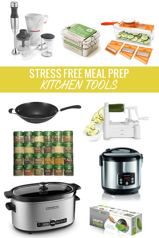 titled photo (and shown): Stress Free Meal Prep Kitchen Tools