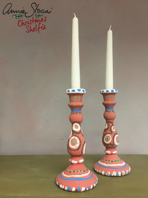 Glass candlestick holders painted in Chalk Paint