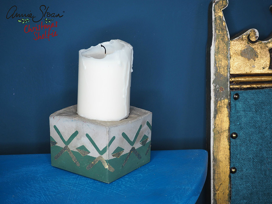 Concrete candle holder painted in Chalk Paint