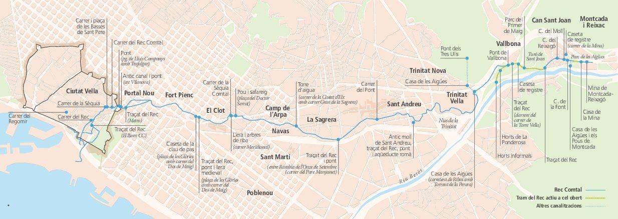 Viaje interactivo por el trazado histórico del Rec Comtal