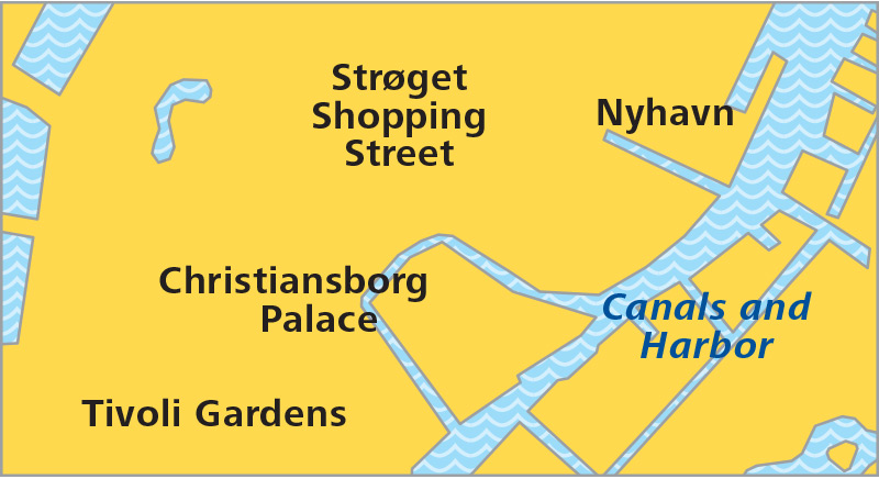 Map for one day in Copenhagen.