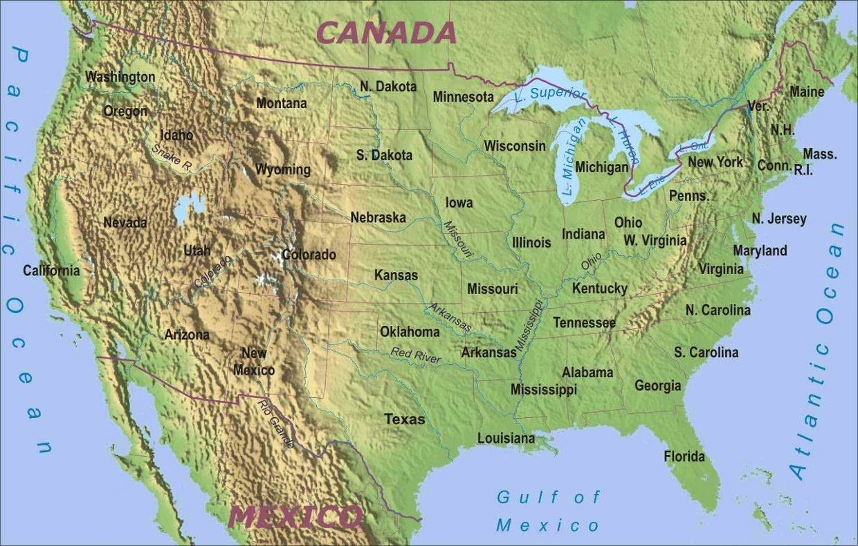 Map Of Us Rivers And Mountain Ranges - Us map physical