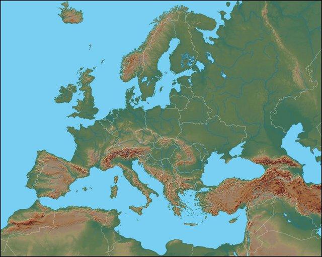Cartina Fisica Muta Germania.Europa Fisica Montagne