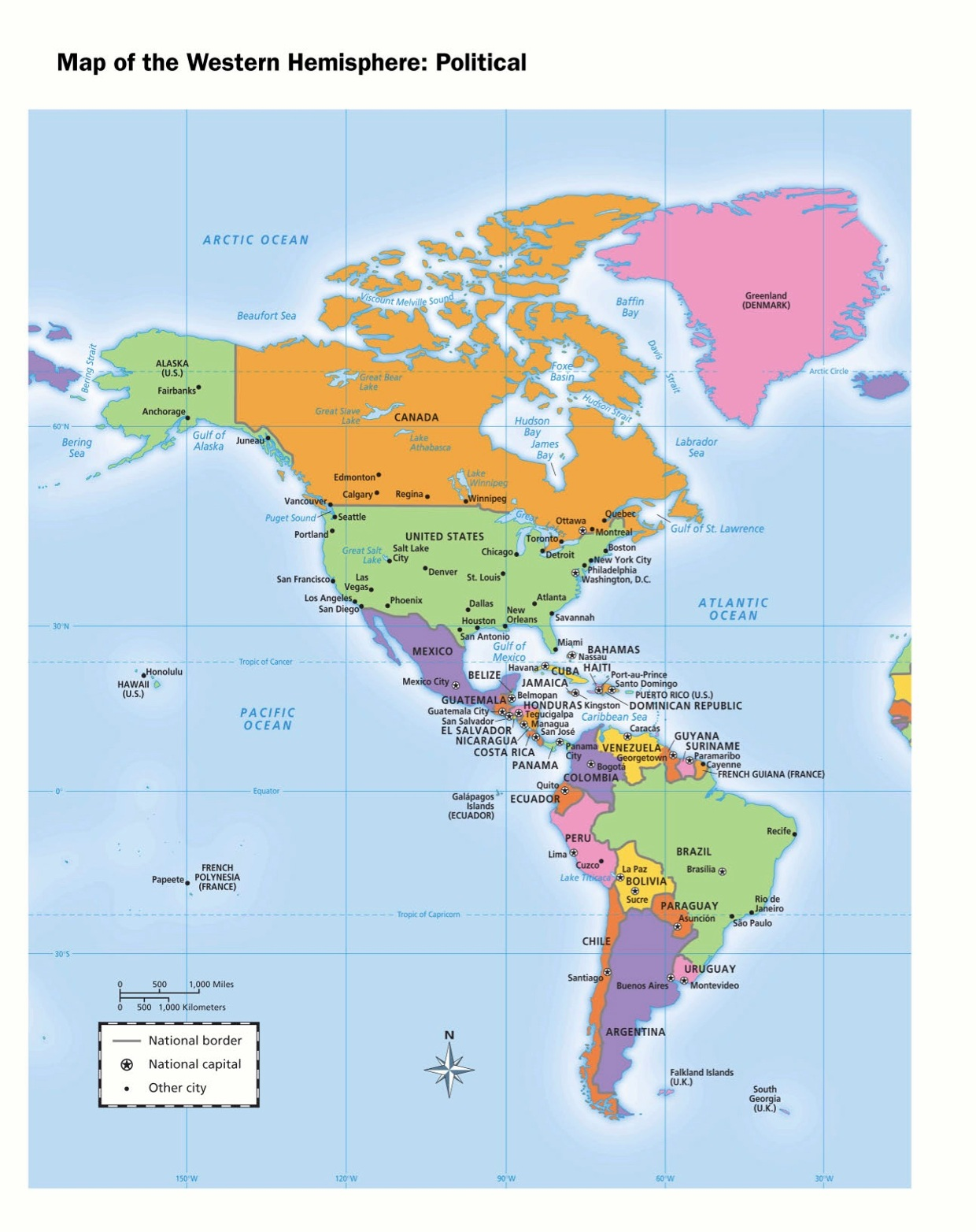 Western Hemisphere Political Map