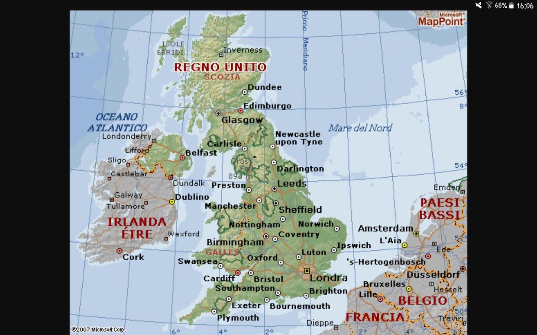 Cartina Fisica Del Regno Unito.Carta Fisica Regno Unito Pernecco Carlo