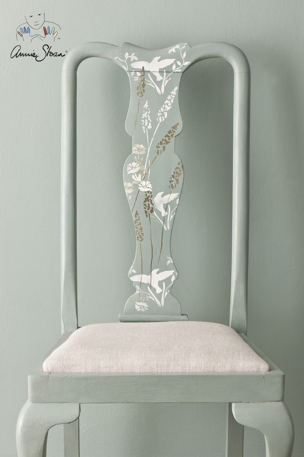 Stencilled chair in Duck Egg Blue