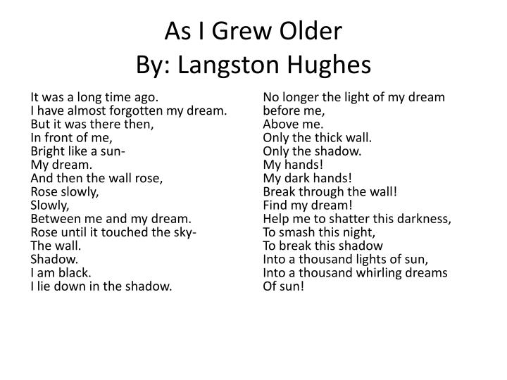 as i grew older langston hughs essay Like many of his works, african-american poet langston hughes' as i grew older focuses on finding equality and acceptance in an indifferent world.