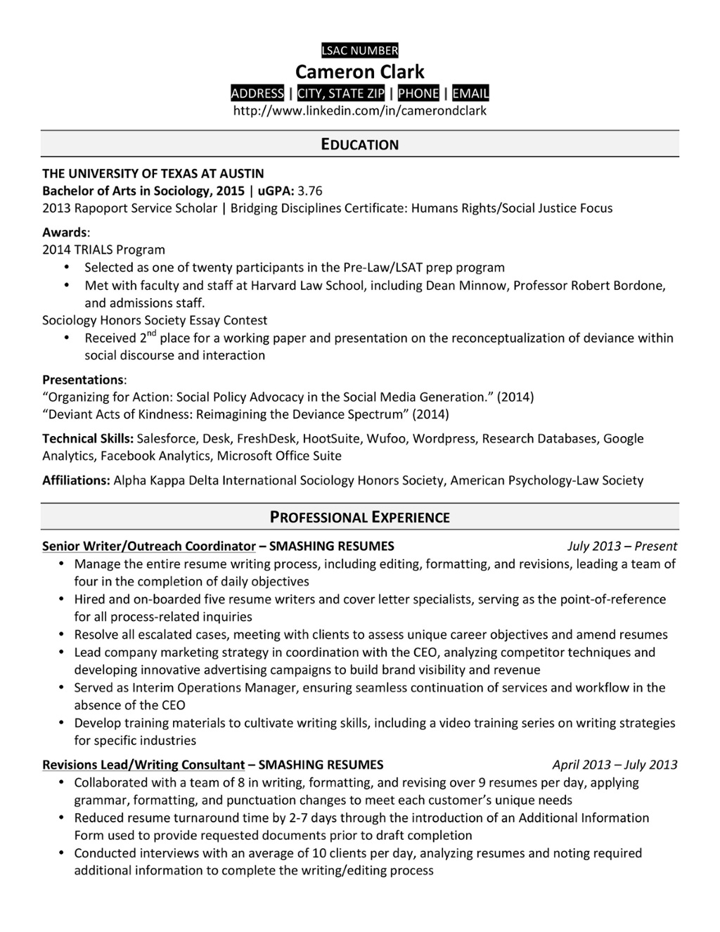 Law school resume example