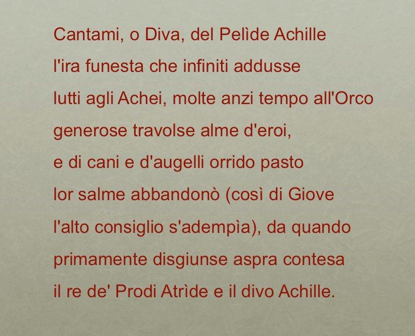 Proemio dell 39 iliade - Parafrasi di cantami o diva del pelide achille ...