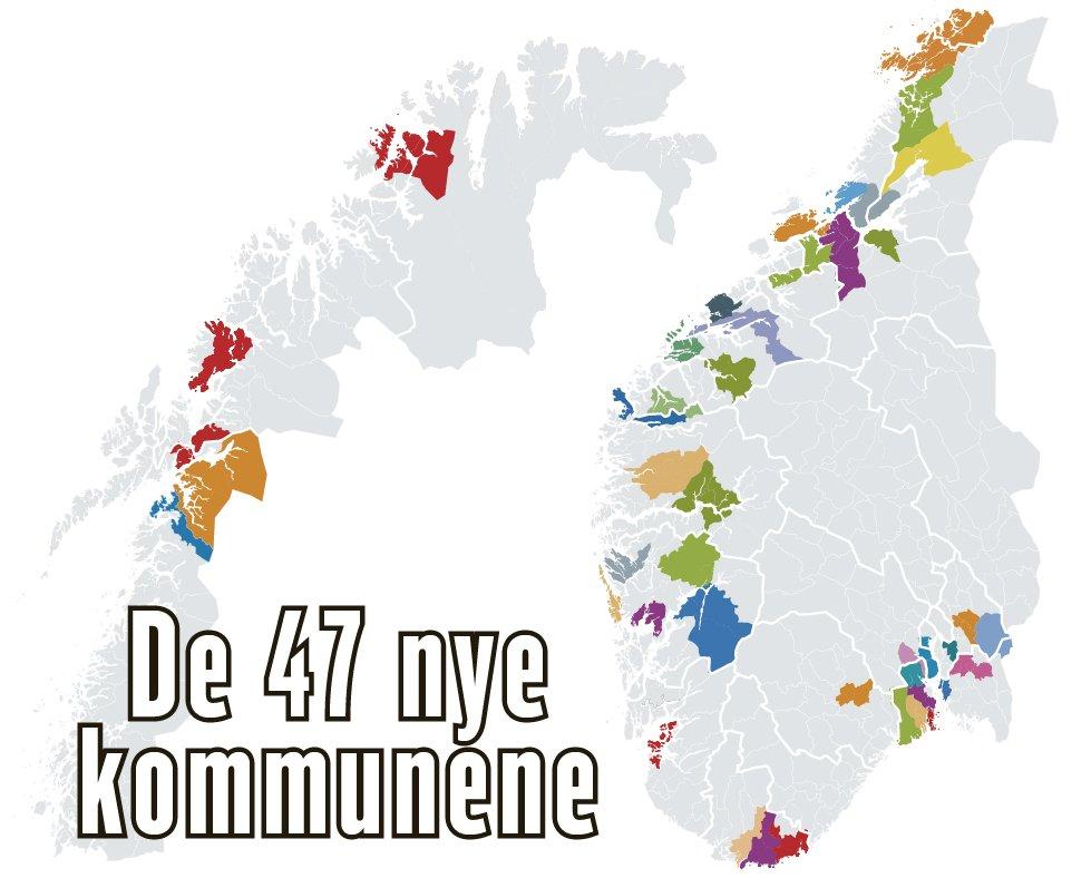 kommunesammenslåing kart Kommunereformen:   Velkommen til Hurrahølet   Dagbladet kommunesammenslåing kart