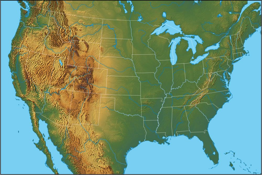 Geography Blog Physical Map Of The United States Of America - Physical features of the us map