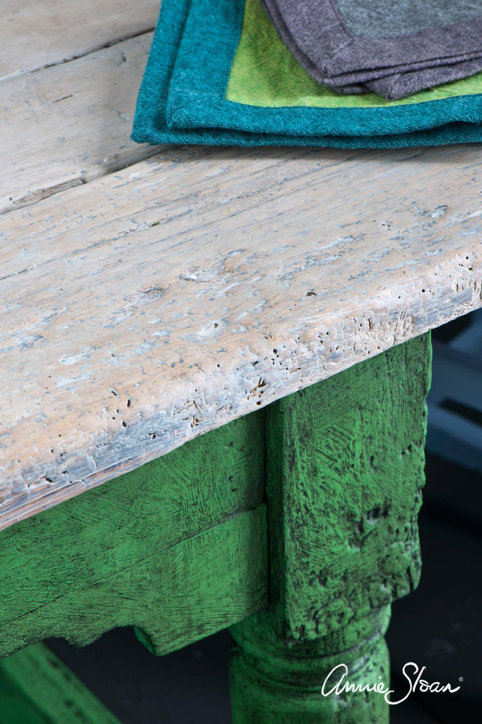 Rustic dining table painted in Chalk Paint