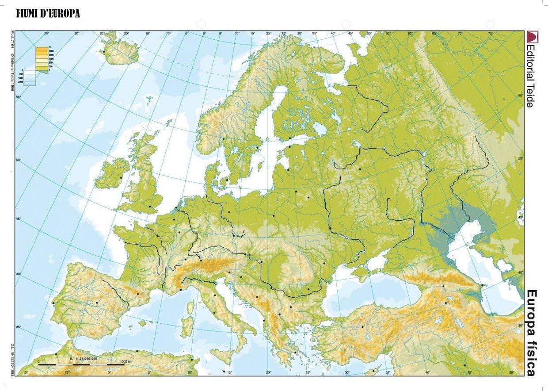 Cartina Fisica Europa Balcanica.Europa Fisica Fiumi Mari Stretti Isole