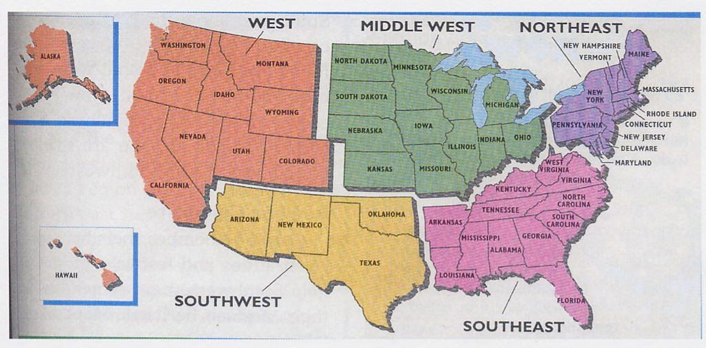 The United States Regions ThingLink - 5 us regions map