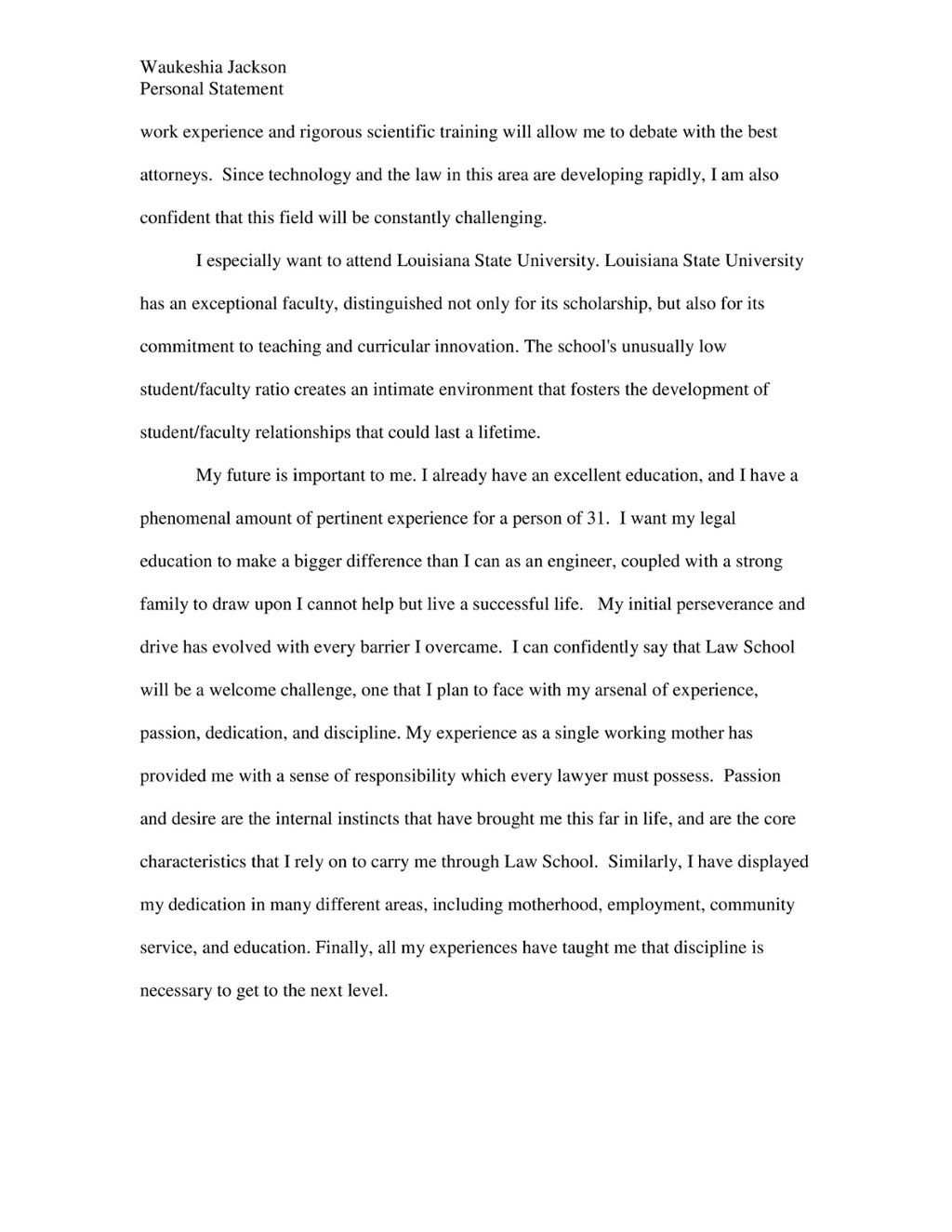 Law school admission personal essay