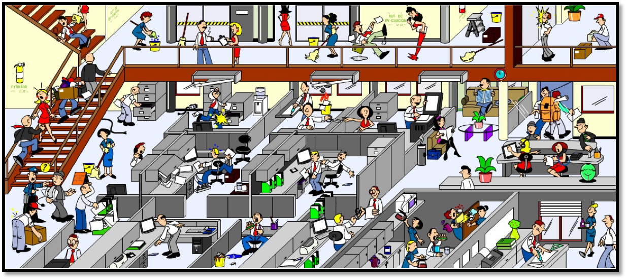 Riesgos laborales en entorno laboral de oficina thinglink for Riesgos laborales en oficinas administrativas