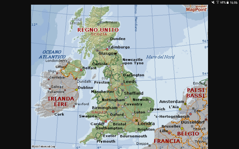 Cartina Gran Bretagna Fisica.Cartina Del Regno Unito