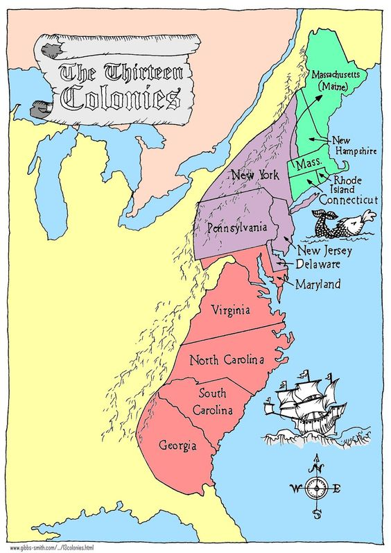 The Colonies ThingLink - Map of us colonies 1776