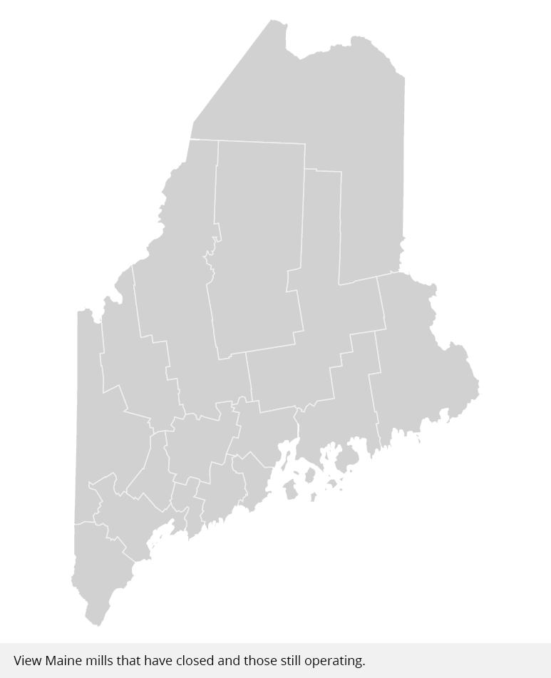 Map Maine paper mills operating or closed down Portland Press