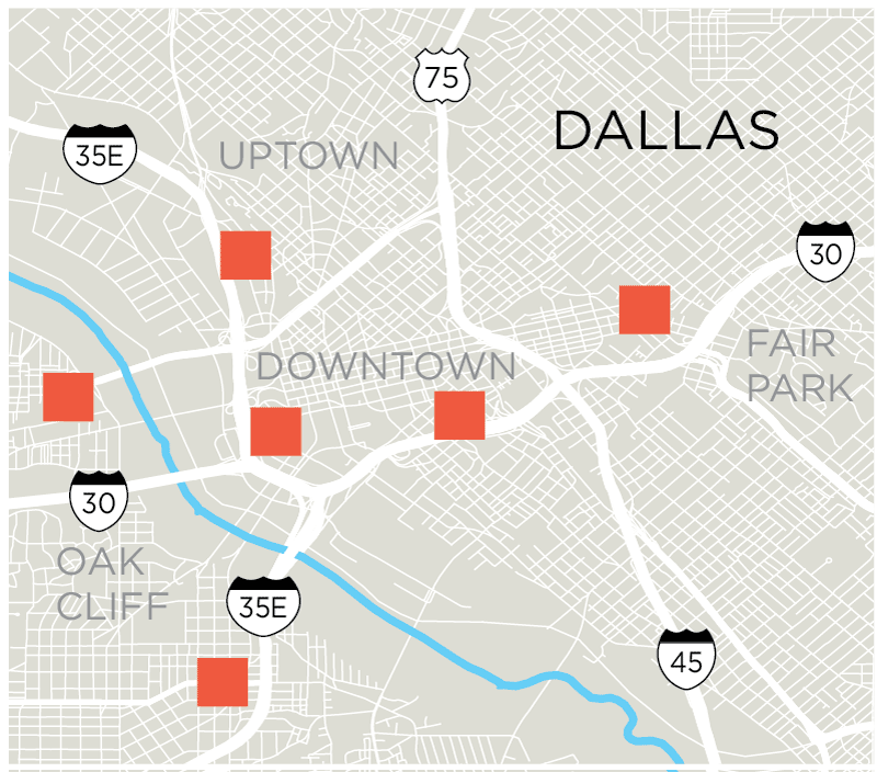 Downtown Dallas Hotel Map on