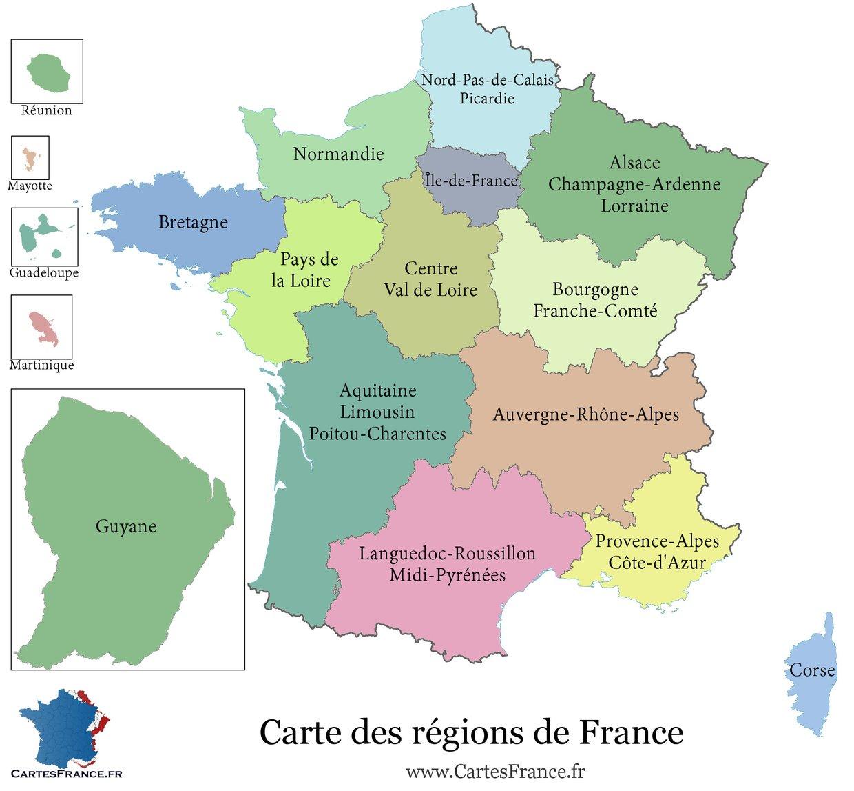 carte de france region carte des régions de france