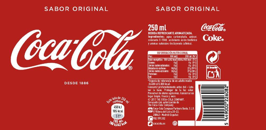 informacion nutricional de refresco coca cola