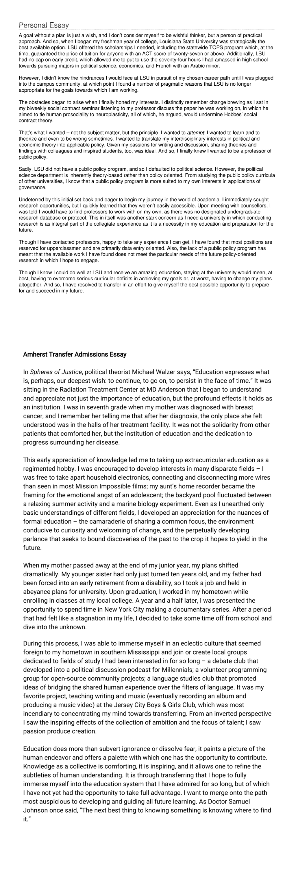 Transfer application essay georgetown