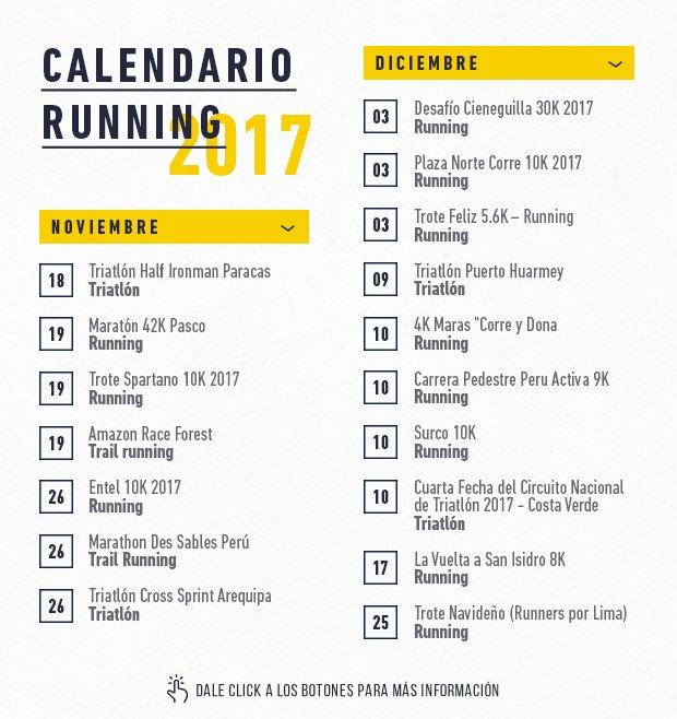 Calendario Running.Tome Nota Calendario Para Carreras En Noviembre Y Diciembre