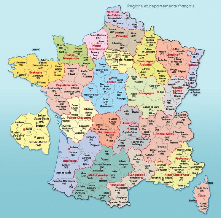 La carte des Jardins - France