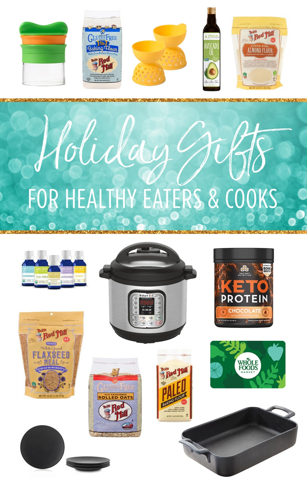 Holiday Gift Guide for healthy eaters, cooks, and foodies! Paleo friendly products, must have kitchen appliances, & porcelain dishes for entertaining! Bobs Redmill Paleo and gluten free baking products