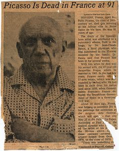Image result for artist pablo picasso dies