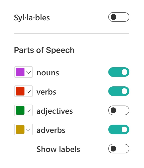 Options for Syllables of the ThingLink Immersive Reader