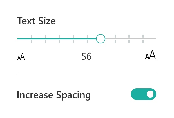 Options for Text size of the ThingLink Immersive Reader